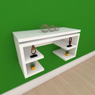 Mesa de cabeceira suspensa com prateleira em mdf branco