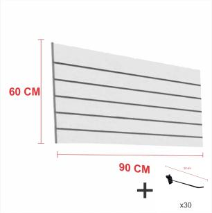 Expositor canaletado cinza alt 60 cm comp 90 cm mais 30 ganchos 20 cm