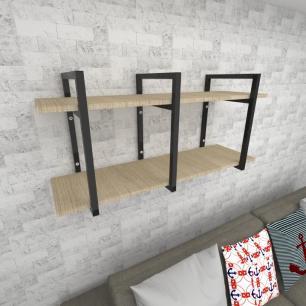 Prateleira industrial para Sala aço preto prateleiras 30 cm cor amadeirado claro modelo ind20acsl