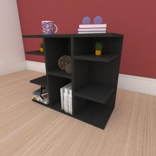 Kit com 2 Mesa de cabeceira slim com divisor em mdf preto