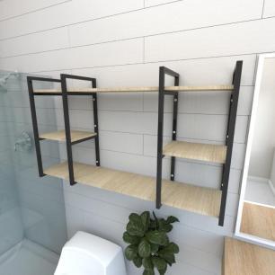 Prateleira industrial banheiro aço cor preto prateleiras 30cm cor amadeirado claro mod ind17acb