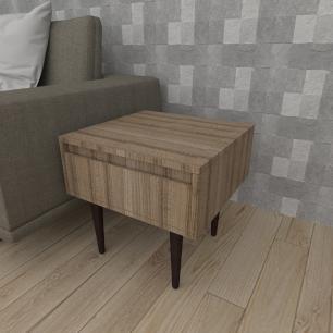 Mesa lateral com gaveta em mdf amadeirado escuro com 4 pés retos em madeira maciça cor tabaco