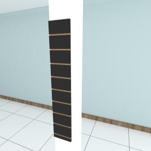 Painel canaletado para pilar preto 1 peça 20(L)x120(A)cm