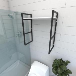 Prateleira industrial para banheiro aço cor preto prateleiras 30 cm cor branca modelo ind15bb