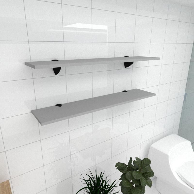 Kit 2 prateleiras para banheiro em MDF suporte tucano cinza 90x20cm modelo pratbnc08