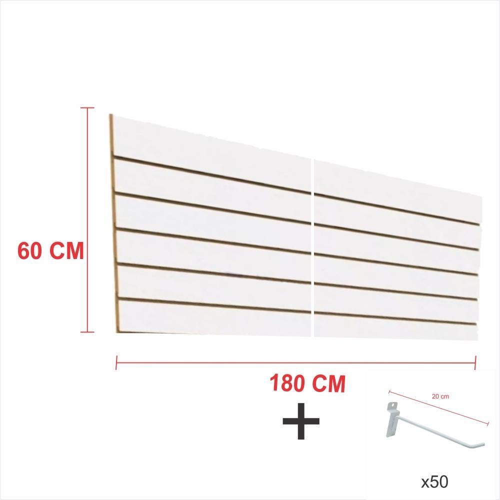 Expositor canaletado branco alt 60 cm comp 180 cm mais 50 ganchos 20 cm