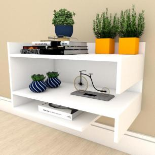 Estante Livros simples com nichos prateleiras em mdf Branco
