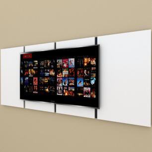 Painel Tv pequeno moderno branco com preto
