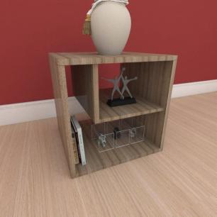 Kit com 2 Mesa de cabeceira moderna com nichos em mdf amadeirado