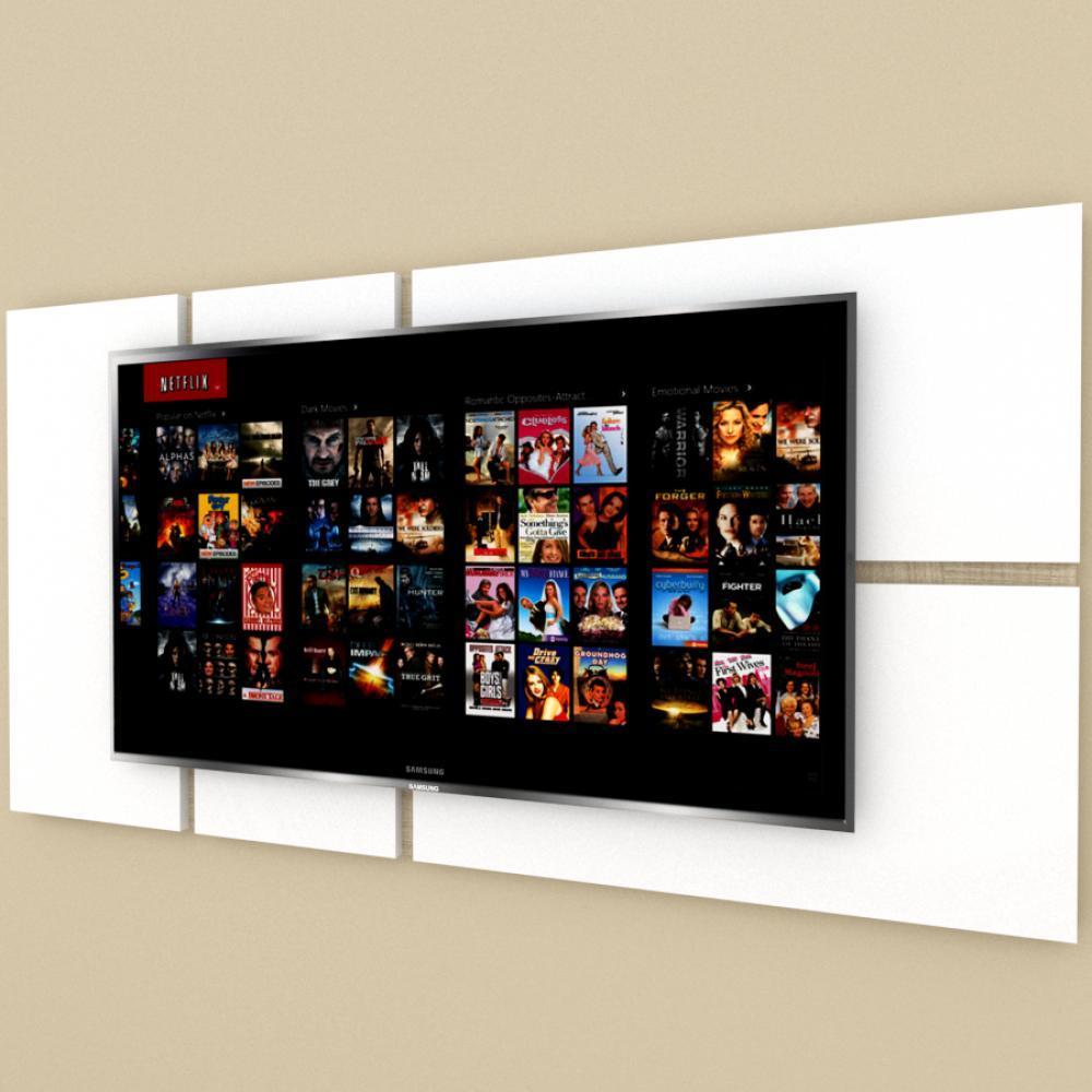 Painel Tv pequeno moderno branco com amadeirado