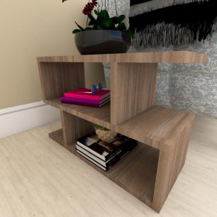 Kit com 2 Mesa de cabeceira amadeirado escuro