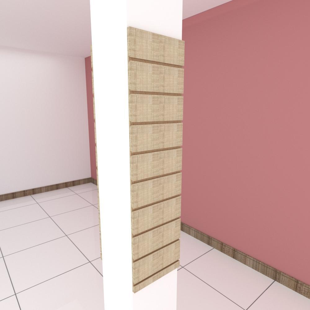 Kit 2 Painel canaletado para pilar amadeirado claro 2 peças 30(L)x120(A)cm