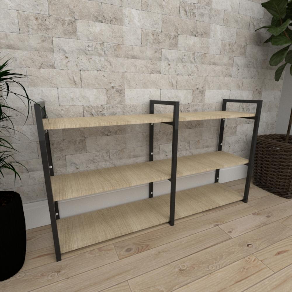 Mini estante industrial para sala aço cor preto mdf 30 cm cor amadeirado claro modelo ind11aceps