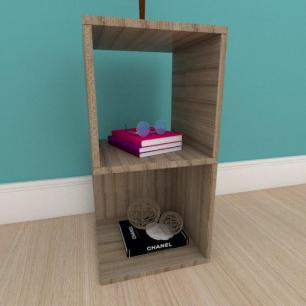 Mesa de cabeceira simples nicho em mdf amadeirado
