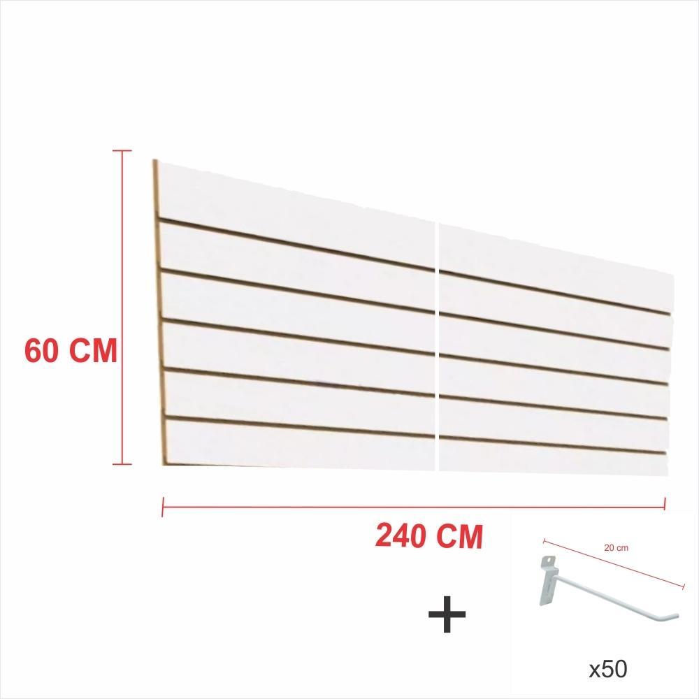 Expositor canaletado branco alt 60 cm comp 240 cm mais 50 ganchos 20 cm