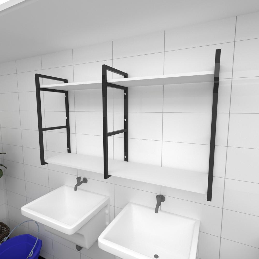 Prateleira industrial para lavanderia aço cor preto prateleiras 30cm cor branca modelo ind13blav