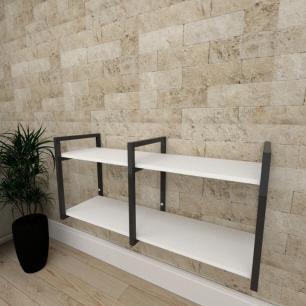 Mini estante industrial para escritório aço cor preto prateleiras 30cm cor branca modelo ind22bep