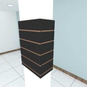 Kit 4 Painel canaletado para pilar preto 2 peças 44(L)x60(A)cm + 2 peças 20(L)x60(A)cm