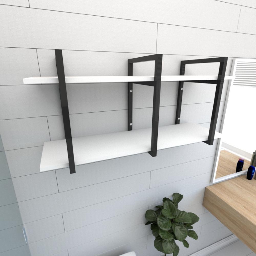 Prateleira industrial para banheiro aço cor preto prateleiras 30 cm cor branca modelo ind23bb
