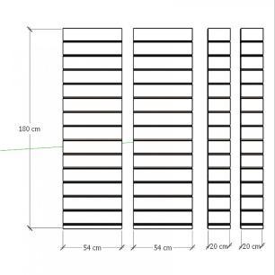 Kit 4 Painel canaletado para pilar vermelho escuro 2 peças 54(L)x180(A)cm + 2 peças 20(L)x180(A)cm