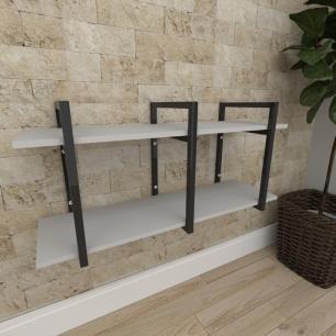 Mini estante industrial para sala aço cor preto prateleiras 30cm cor cinza modelo ind23ceps