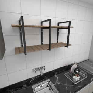 Prateleira industrial cozinha aço cor preto prateleiras 30cm cor amadeirado escuro mod ind23aec