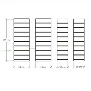 Kit 4 Painel canaletado para pilar branco 2 peças 44(L)x120(A)cm + 2 peças 30(L)x120(A)cm