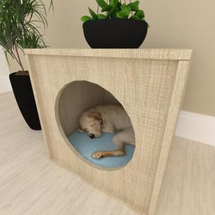 Mesa de cabeceira caminha cachorro cão mdf Amadeirado claro