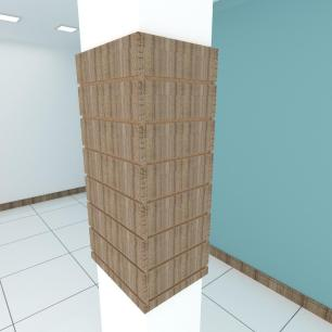 Kit 4 Painel canaletado para pilar amadeirado escuro 2 peças 44(L)x90(A)cm + 2 peças 30(L)x90(A)cm
