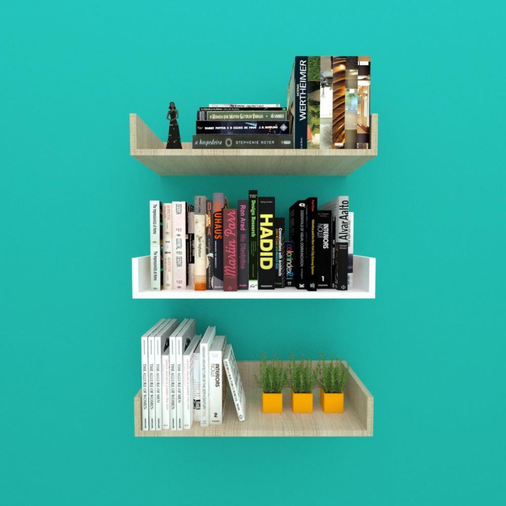 Estante de Livros em mdf 50x20 Amadeirado claro com branco