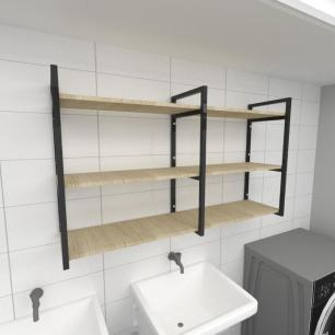 Prateleira industrial para lavanderia aço cor preto mdf 30cm cor amadeirado claro modelo ind11aclav