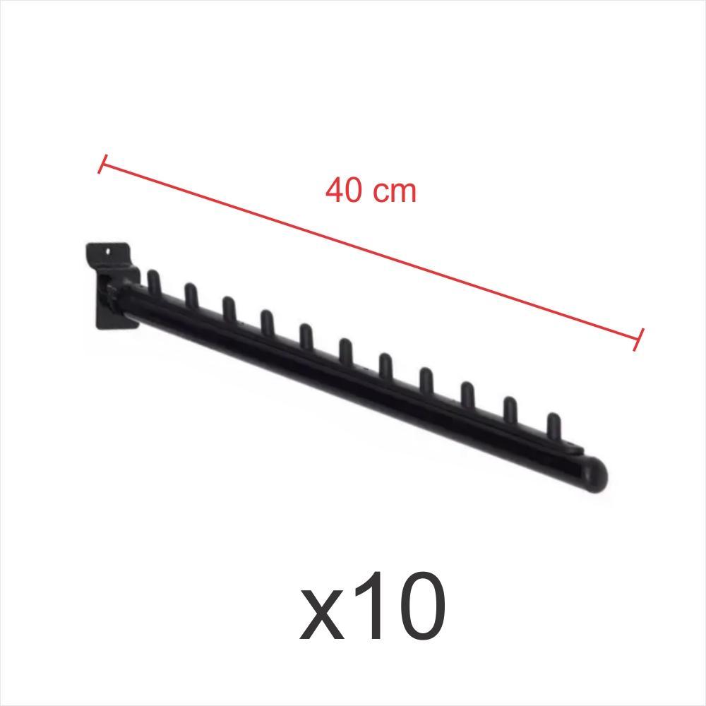 Pacote com 10 ganchos rt para roupas preto de 40 cm para painel canaletado