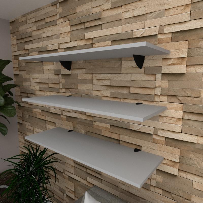 Kit 3 prateleiras para sala em MDF suporte tucano cinza 90x30cm modelo pratslc03