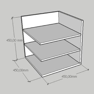 Mesa de cabeceira minimalista com prateleiras em mdf cinza
