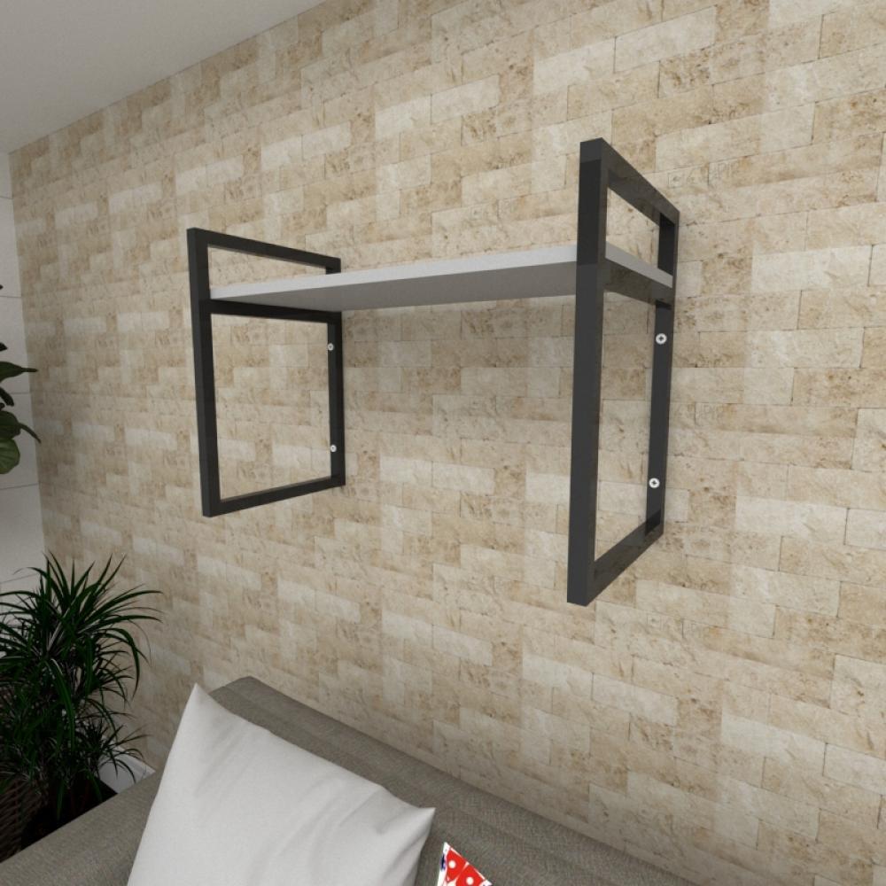 Prateleira industrial para Sala aço cor preto prateleiras 30 cm cor cinza modelo ind03csl