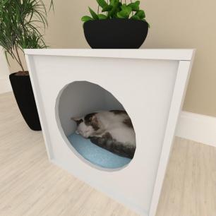 Mesa de cabeceira Casinha caminha para gato mdf Cinza