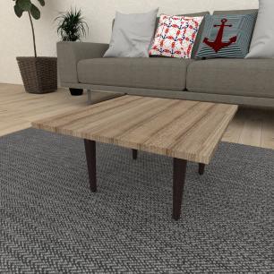 Mesa de Centro quadrada em mdf amadeirado escuro com 4 pés retos em madeira maciça cor tabaco