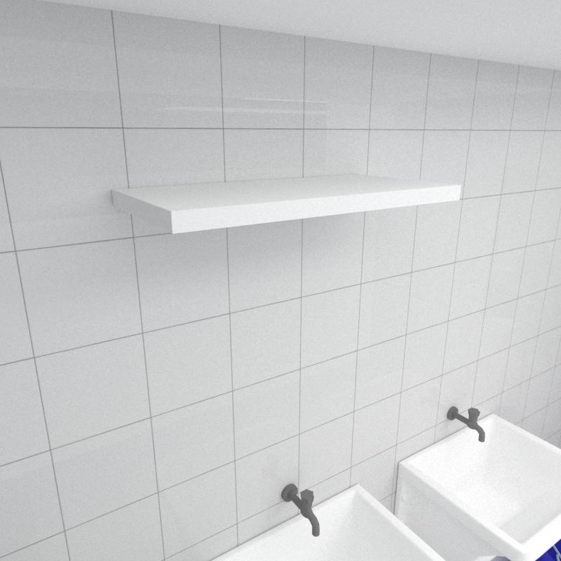 Prateleira para lavanderia MDF suporte Inivisivel cor branco 60(C)x30(P)cm modelo pratlvb22
