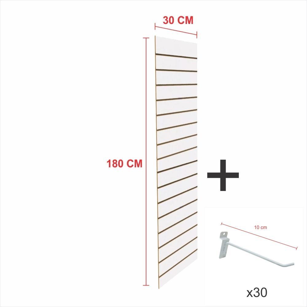 Painel com ganchos branco alt 180 cm comp 30 cm mais 30 ganchos 10 cm