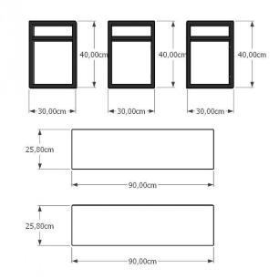 Aparador industrial aço cor preto prateleiras 30 cm cor cinza modelo ind22capr