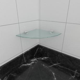kit com 1 Prateleira para canto de vidro temperado para cozinha profundidade 20 cm