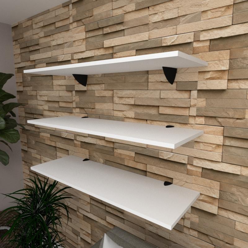 Kit 3 prateleiras para sala em MDF suporte tucano branco 90x30cm modelo pratslb03