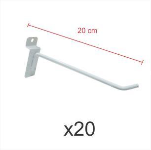 Pacote com 20 ganchos 4mm branco de 20 cm para painel canaletado