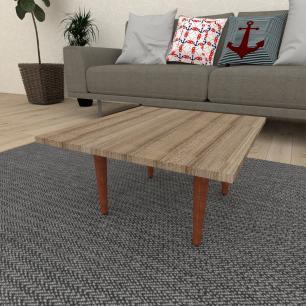 Mesa de Centro quadrada em mdf amadeirado escuro com 4 pés retos em madeira maciça cor mogno