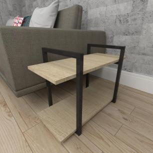 Mesa lateral sofá industrial aço cor preto mdf 30 cm cor amadeirado claro modelo ind02acml