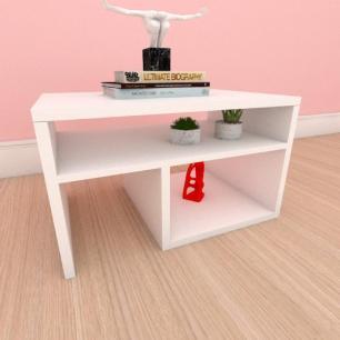 Mesa de centro moderna compacta com prateleiras em mdf branco
