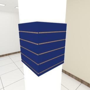Kit 4 Painel canaletado para pilar azul escuro 2 peças 54(L)x60(A)cm + 2 peças 50(L)x60(A)cm