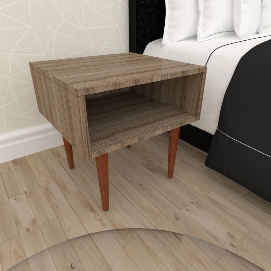 Mesa de Cabeceira em mdf amadeirado escuro com 4 pés retos em madeira maciça cor mogno