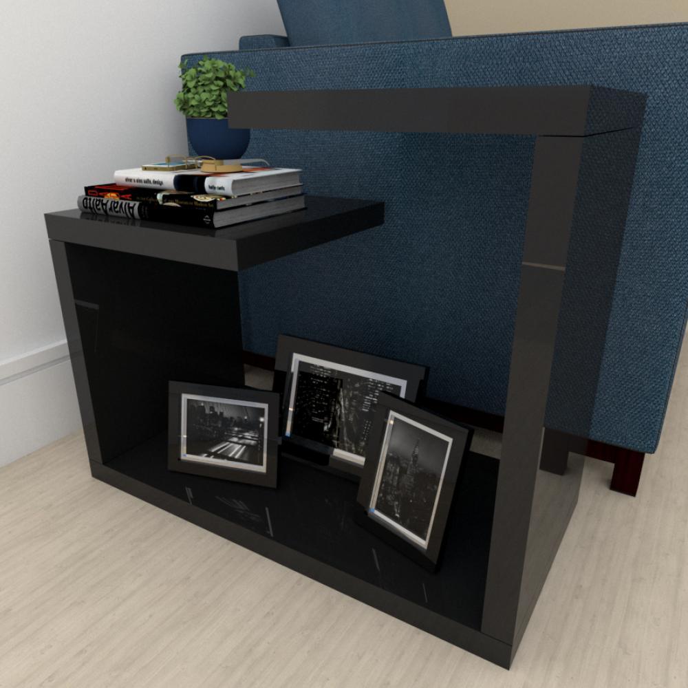 Mesa Lateral para sofá moderna preto