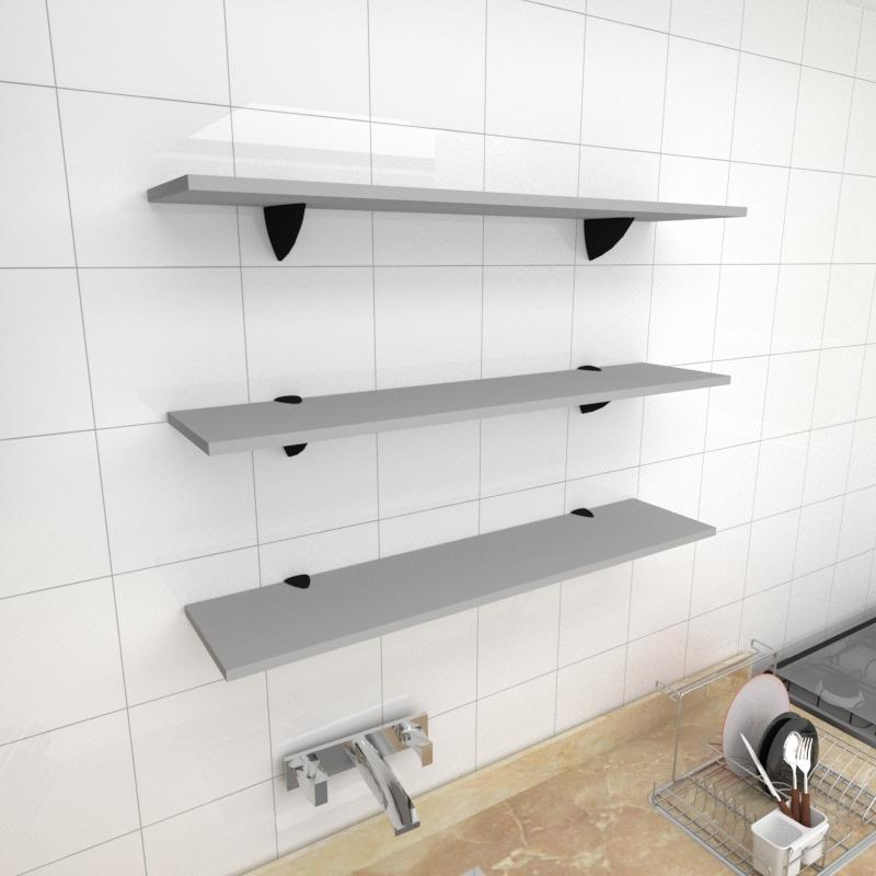 Kit 3 prateleiras para cozinha em MDF suporte tucano cinza 90x20cm modelo pratcc09